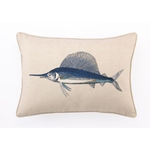 Marlin Embroidered Pillow