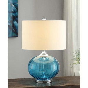 New Port Glass and Metal Table Lamp