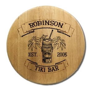 Tiki Bar Barrel Head Sign Personalized