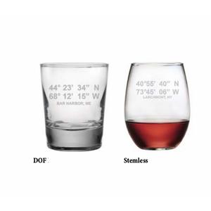 Latitude Longitude Glasses (Set Of 4)
