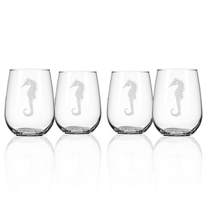Seahorse Stemless Wine Glass Tumbler S/4