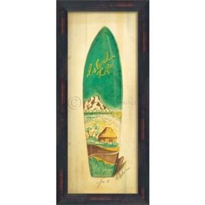 Island Life Surf Board Framed Art
