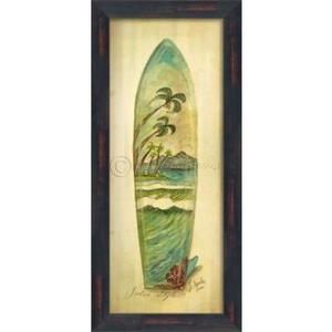 Palm Surfboard Framed Art