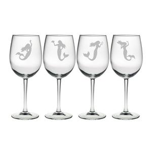 Mermaids Stemmed Wine Glasses (Set Of 4)