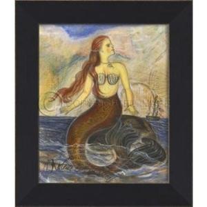 Mermaid on a Rock Framed Art