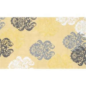 Brocade Yellow Flannel/Hook Rug, 4.7 X 7.7