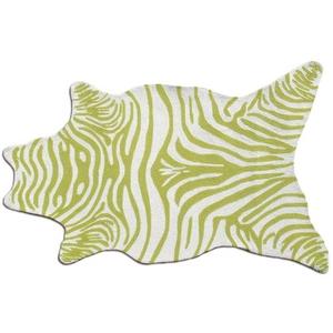 Zebra Green Shaped Hook Rug, 5 X 8Shaped