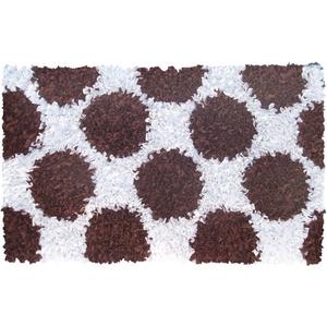 Polkamania Brown/White Shag Rug, 4.7 X 7.7