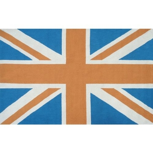 Union Jack Orange Hook Rug, 8 X 10