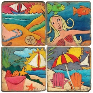 Beach Fun Coasters, Set Of 4