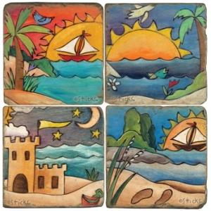 Coastal Fun Coasters, Set Of 4