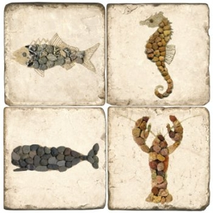 Creatures Of The Sea Marble Coasters Set Of 4