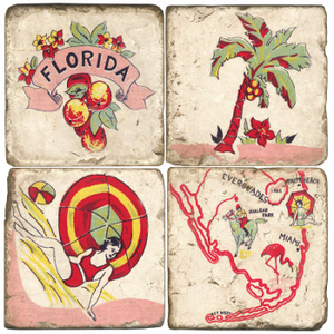 Vintage Florida Coasters S/4