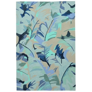 "Palm Leaf Blue Rug 7'6"" X 9'6"""