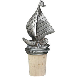 Pewter Sailboat Bottle Stopper