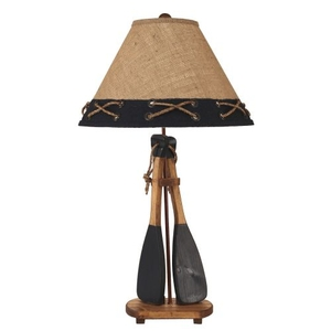 Coastal Lamp 2 Boat Paddles W/ Rope Handles Table Lamp