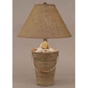 Coastal Lamp Bucket Of Shells - Heavy Distressed Grey