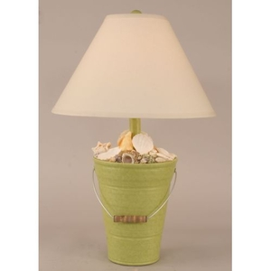 Coastal Lamp Bucket Of Shells - Lime
