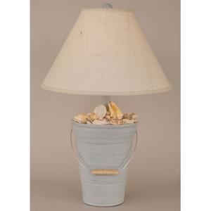 Coastal Lamp Bucket Of Shells - Cottage Seaside Villa