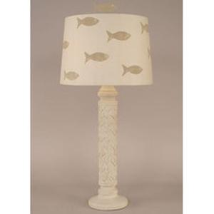 Coastal Lamp Basket Weave Table Lamp - Nude Two Tone