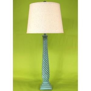 Coastal Lamp Tall Slender Swirl W/ Square Base Table Lamp - Glazed Turquoise Sea High Gloss