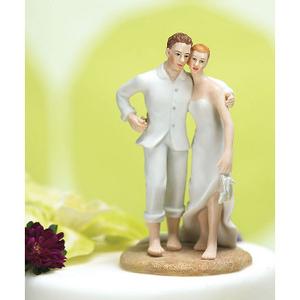 Tropical Paradise Wedding Couple Cake Topper