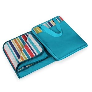 Vista Blanket Xl - Aqua Blue With Multi-Colored Stripe Print