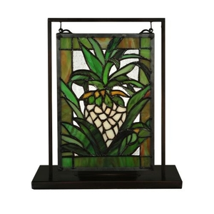 "6"" W X 9"" H Welcome Pineapple Lighted Mini Tabletop Window"