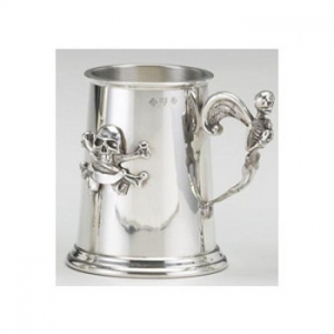 Pewter Skull And Crossbone Tankard