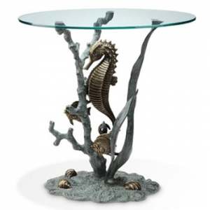 Seahorse Glass Top End Table