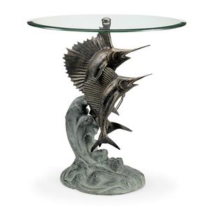 Marlin and Sailfish Side Table with Glass Top