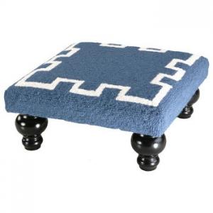 Greek Key Footstool -Blue