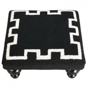 Greek Key Footstool -Black