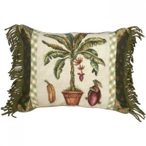 Banana Tree Needlepoint Pillow
