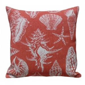 Seashell Red Linen Pillow
