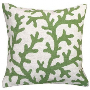 Coral Green Needlepoint Pillow