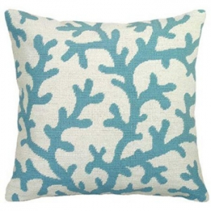 Coral Blue Needlepoint Pillow