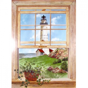 Lighthouse Window Scene Wall Art