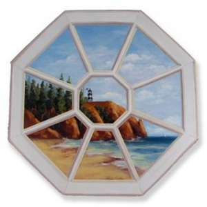 Lighthouse Octagon Window Scene Wall Art
