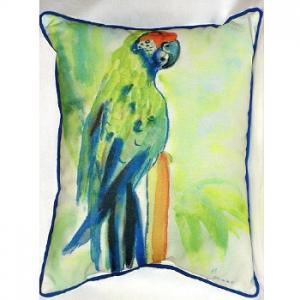 Green Parrot Indoor Outdoor Pillow