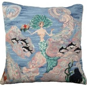 Mermaid And Starfish Needlepoint Pillow