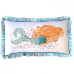 Mermaid Embroidered Pillow