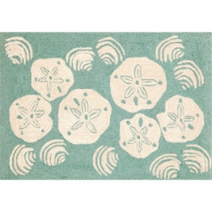 Shell Toss Aqua Indoor Outdoor Rug