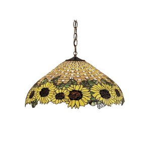 """22"""" W Wicker Sunflower Pendant"""