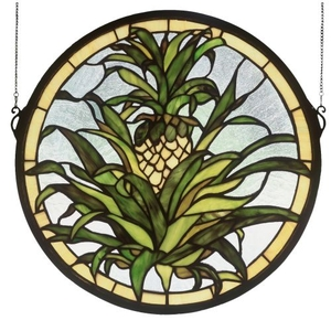 """16"""" W X 16"""" H Welcome Pineapple Stained Glass Window"""
