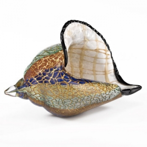 Murano Style Artistic Glass Large Conch Shell