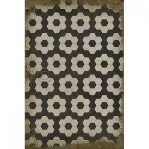 Black On White On Black Pattern Vinyl Floor Cloth