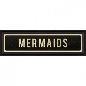 Mermaids Framed Wood Art Sign