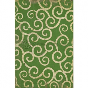 Green Swirl Pattern Vinyl Floor Cloth