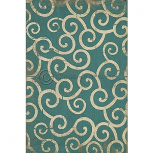 Light Blue Swirl Pattern Vinyl Floor Cloth